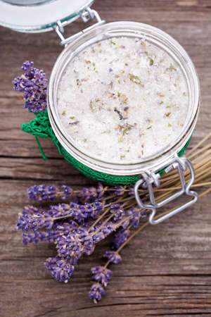 Handmade DIY natural sugar body scrub with lavender and coconut oil
