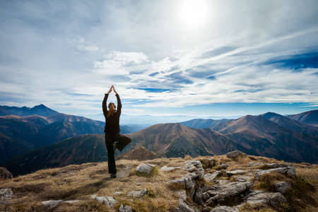 Yoga in Tatry mountains. Beautiful panorama, Czerwone Wierchy, Cervene vrchy photo