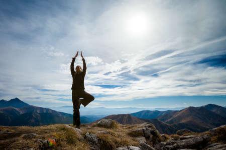 Yoga in Tatry mountains. Beautiful panorama, Czerwone Wierchy, Cervene vrchy photo