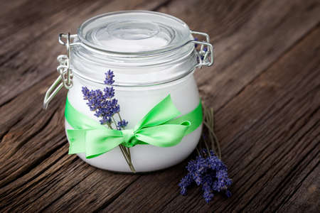 Handmade DIY natural body butter with lavender and coconut oil, almond oil and shea butter
