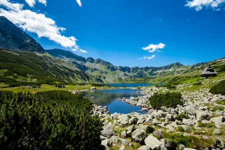 Beautiful panorama in Tatry mountains, Five Lakes Valley, Dolina Pieciu Stawow photo