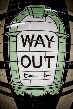 way out: London underground way out sign in detail