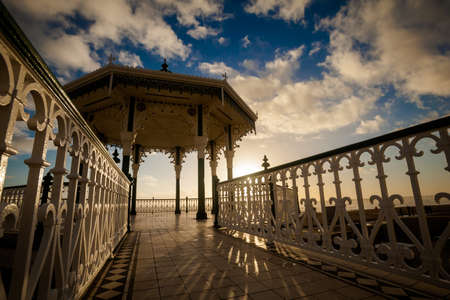 bandstand: Sunset view on beautiful Brighton bandstand during sunny day, with blue sky