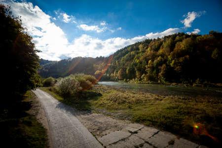 Autumn landscape photo taken in polish Beskidy mountains, Poprad valley Imagens