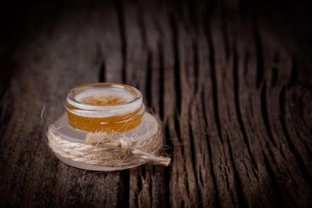 Handmade DIY natural sugar lip scrub with honey and coconut oil