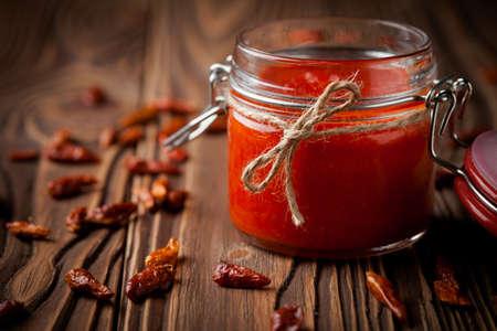 chilli sauce: Homemade DIY natural hot chilli sauce sriracha Stock Photo