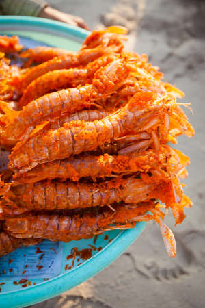 Fresh deep fried battered lobster. Traditional khmer cuisine, photo