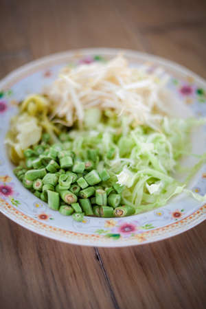 bean sprouts: Selection of fresh vegetables - bean sprouts, bean, cabbage and pickle Traditional thai cuisine.