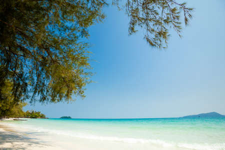 east asia: Summer seascape on tropical island Koh Rong in  Cambodia. Landscape of south east Asia. Stock Photo