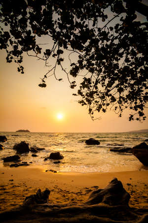 east asia: Summer sunrise seascape on tropical island Koh Rong in  Cambodia. Landscape of south east Asia.