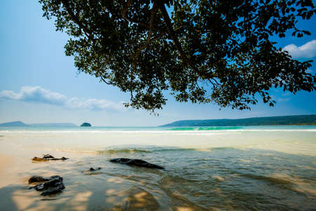 south east asia: Summer seascape on tropical island Koh Rong in  Cambodia. Landscape of south east Asia. Stock Photo