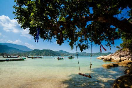Summer seascape on tropical island Koh Phangan in Thailand. Thong Nai Pan Yai Beach. photo