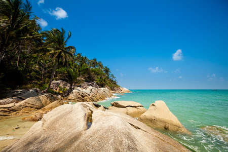 phangan: Summer seascape on tropical island Koh Phangan in Thailand. Bottle Beach landscape. Stock Photo