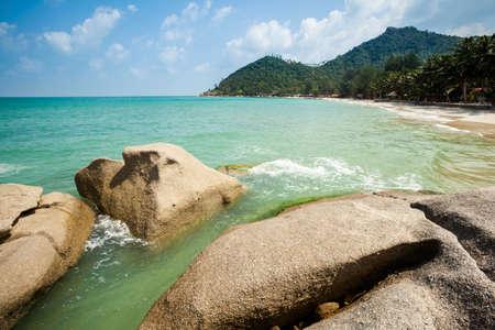 Summer seascape on tropical island Koh Phangan in Thailand. Bottle Beach landscape. photo