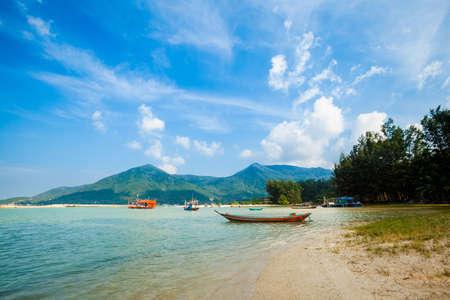 Summer seascape on tropical island Koh Phangan in Thailand. Chalokum beach landscape. photo