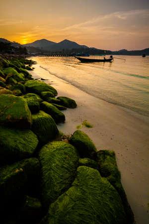 Beautiful sunset on tropical island Koh Phangan in Thailand. Chalokum beach landscape. photo
