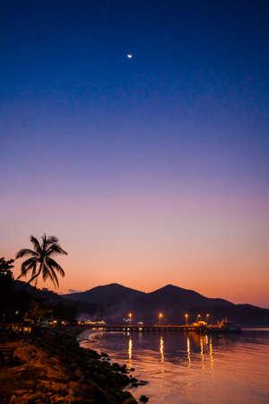 beautiful sunset: Beautiful sunset on tropical island Koh Phangan in Thailand. Chalokum beach landscape.