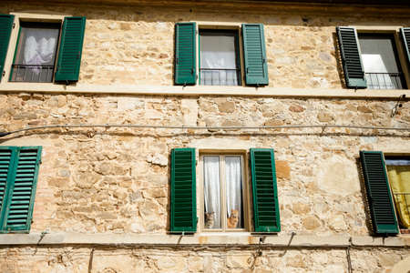 montalcino: Beautiful little streets in Montalcino, Italy. Funny cats in the window