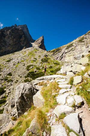 plies: Exercise yoga everywhere - in slovakian Tatry mountains. Beautiful panorama - Chata Teryho, kotlina Piatich Spisskych plies. Vriksha-asana - tree pose. Stock Photo