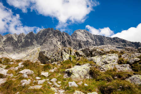 plies: Beautiful five spiskie lakes valley - in slovakian Tatry mountains. Beautiful panorama - Chata Teryho, kotlina Piatich Spisskych plies