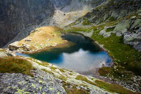 plies: Beautiful five spiskie lakes valley - in slovakian Tatry mountains. Beautiful panorama - Chata Teryho, kotlina Piatich Spisskych plies