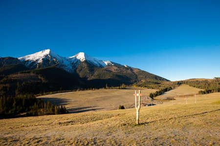 tatry: Beautiful slovakian Belianske Tatry mountains. Beautiful sunny panorama - dolina Bielej Stock Photo