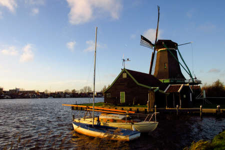 zaandam: Mills in Zaandam - Netherlands architecture during beautiful sunset. Landscape photo.