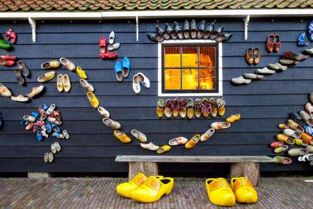 zaandam: Traditional colorful dutch clogs in Zaandam museum, Netherlands