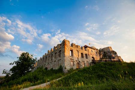 jura: Old castle - Rabsztyn i Jura Krakowsko Czestochowska, Poland. view of cracow - czestochowa upland. Limestone rocks.