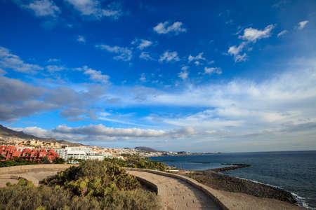 adeje: Summer seascape on tropical island Tenerife, Canary in Spain. Costa Adeje view from Las Toscas