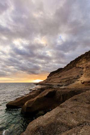 adeje: Summer seascape on tropical island Tenerife, Canary in Spain. Sunset in Costa Adeje
