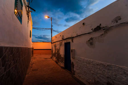 adeje: Summer seascape on tropical island Tenerife, Canary in Spain. Costa Adeje at night Stock Photo