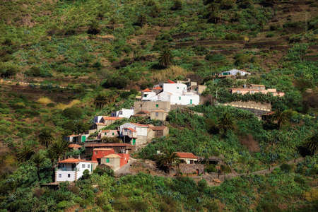 Mountain landscape on tropical island Tenerife, Canary in Spain. Gorge trekking view from Masca Village. Stock Photo