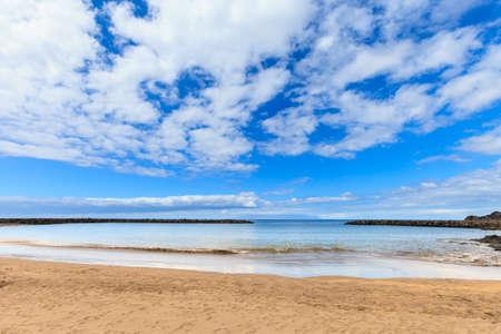 the americas: Summer seascape on tropical island Tenerife, Canary in Spain. Playa de Las Americas