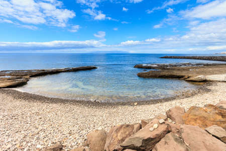 troya: Summer seascape on tropical island Tenerife, Canary in Spain. Playa de Las Americas