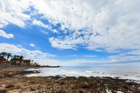 the americas: Summer seascape on tropical island Tenerife, Canary in Spain. Playa de Troya in Las Americas