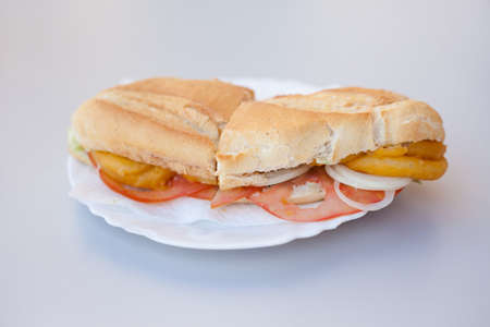 Fresh deepfried crispy squid roll sandwich in local restaurant in small town Granadilla de Abona on tropical island Tenerife, Canary in Spain. Spanish food specialities. Foto de archivo