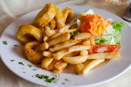 Fresh deepfried roman style squid served with fries and salad in local restaurant in Los Gigantes on tropical island Tenerife, Canary in Spain. Spanish food specialities.