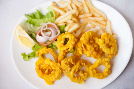Fresh deepfried roman style squid served with fries and salad in local restaurant in Garachico on tropical island Tenerife, Canary in Spain. Spanish food specialities. Foto de archivo