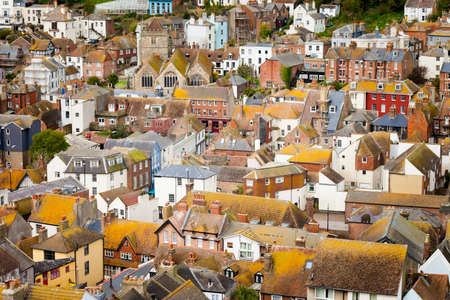 Beautiful landscape of Hastings in England. Spring cloudy cityscape.