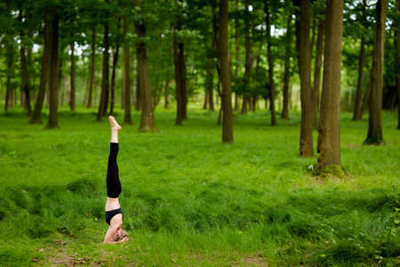 Nature yoga session in beautiful green polish woods, between trees. Salamba Sirsasana - supported headstand