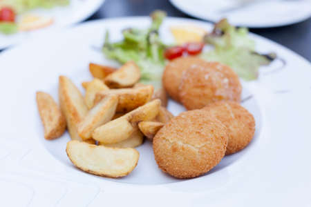 olomouc: Delicious and the most famous czech battered deep fried olomouc cheese, potato wedges served in local restaurant in Frydek Mistek. Moravian food specialities.
