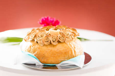 Wedding bread with salt detail - traditional polish inviting to Bride and Groom. Stock Photo