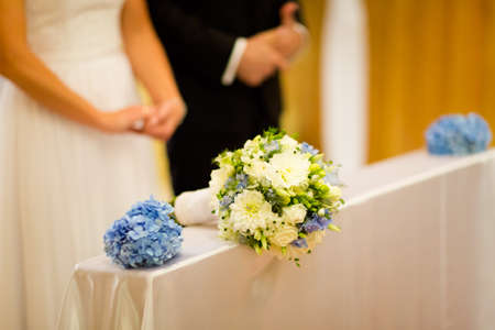 Beautiful flowers of the Bride during wedding - romantic bouquet