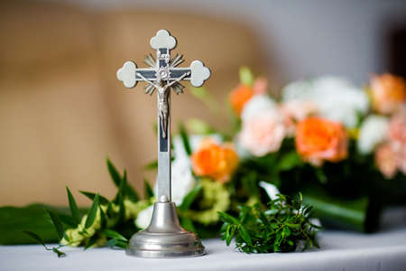 christian marriage: Christian detaill - traditional polish parents marriage blessing to Bride and Groom before wedding.