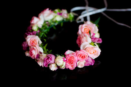 virginity: Beautiful wreath of the Bride before wedding - romantic virginity symbol detail