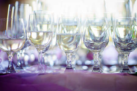 sparkling wine: Wedding sparkling wine, champagne detail - traditional toast inviting to Bride and Groom.