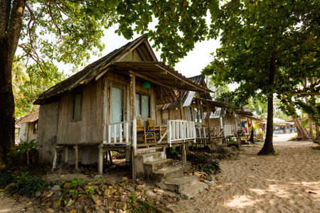 Summer bungalows on tropical koh Chang island  in Thailand. Scene taken on lonely beach.