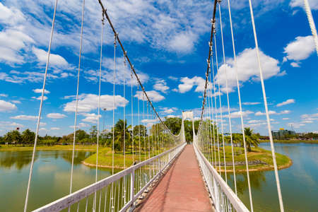 Beautiful view taken on bridge in Udon Thani in northern Thailand. Cityscape with beautiful nature and architecture in south east Asia.