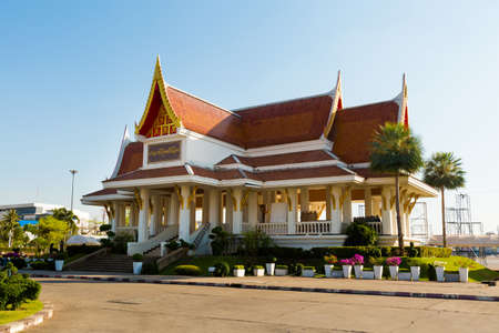 Beautiful buddhist China City Shrine temple in Udon Thani in northern Thailand. Cityscape with beautiful architecture in south east Asia.